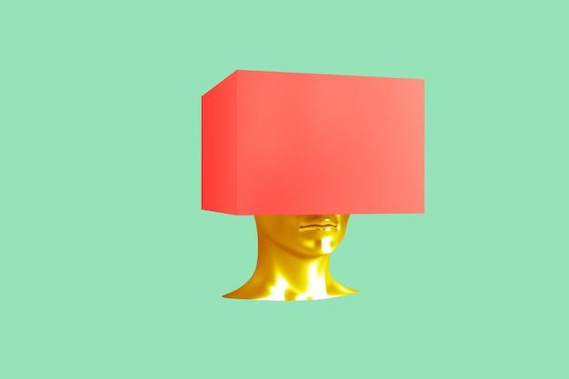 Tête d'or avec une boîte rouge dessus