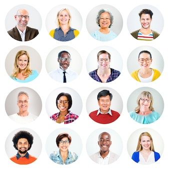 Tête des peuples multiethniques heureux