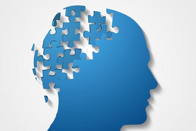 Tête de puzzle bleue avec pièces manquantes