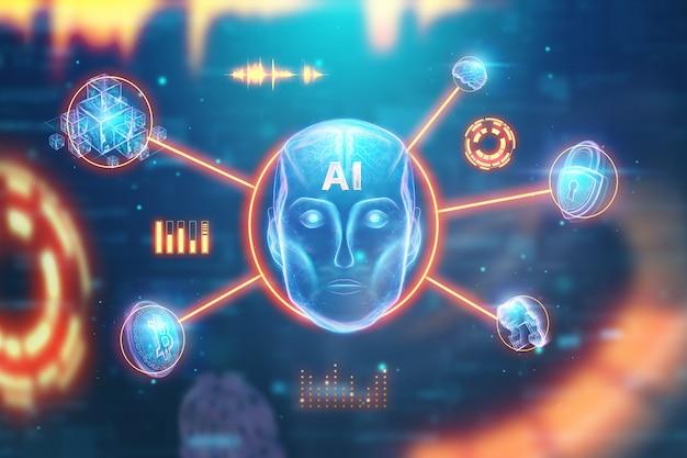 Tête de robot hologramme bleu, intelligence artificielle sur fond bleu