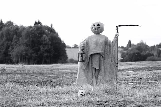 Tête sculptée dans la citrouille et le monstre en vacances