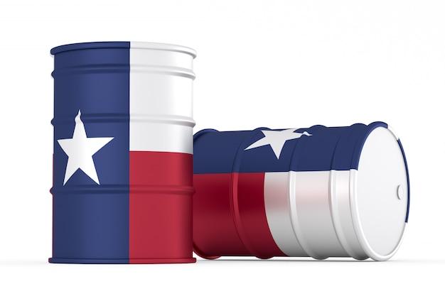 Texas barils de drapeau de style pétrolier isolés
