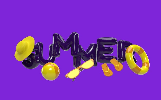 D text summer with elements, sun glass, flip-flops, hat beach, ball, ring floating for background banner or wallpaper. conception créative du concept de vacances de vacances d'été. rendu 3d