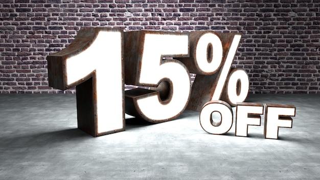 Texte 15 pour cent de réduction en trois dimensions similaire à la tôle rouillée et éclairée