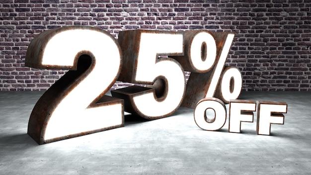 Texte 25% de réduction en trois dimensions similaire à la tôle rouillée et éclairée