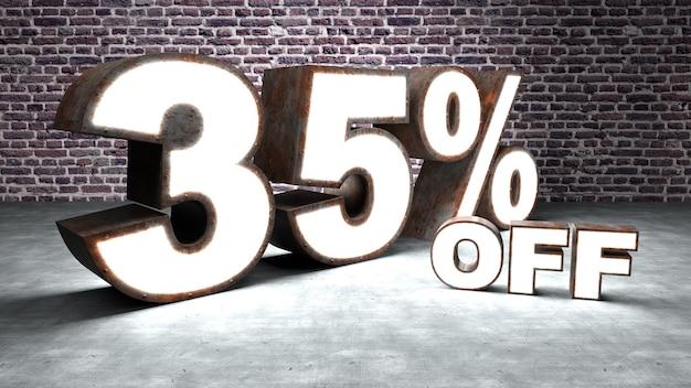 Texte 35 pour cent de réduction en trois dimensions similaire à la tôle rouillée et éclairée