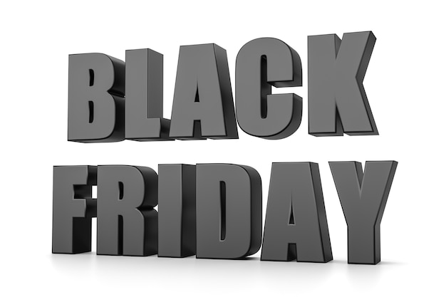 Texte 3d black friday isolé