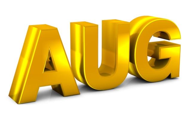 Texte 3d d'or d'août - abréviation de mois d'août isolé sur fond blanc. rendu 3d.