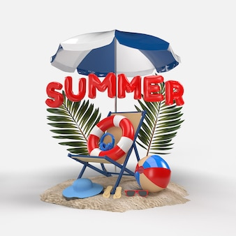 Texte 3d summer on beach island avec parasol de plage, verre de soleil, tongs, ballon, anneau flottant, feuille de plam et chaise. conception du concept de vacances d'été. rendu 3d