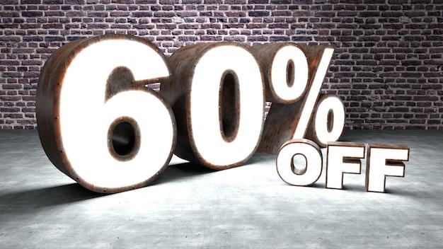Texte 60 pour cent de réduction en trois dimensions similaire à la tôle rouillée et éclairée.