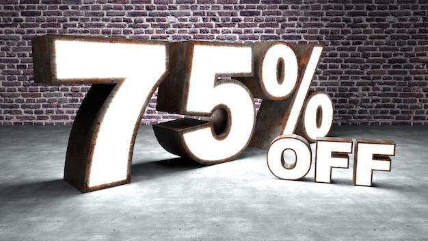 Texte 75 pour cent de réduction en trois dimensions similaire à la tôle rouillée et éclairée