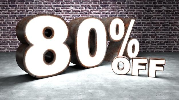 Texte 80 pour cent de réduction en trois dimensions similaire à la tôle rouillée et éclairée
