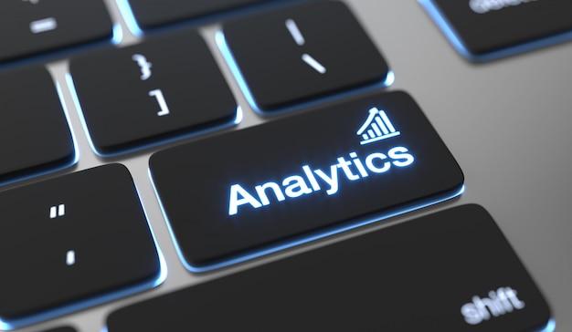 Texte analytique sur le bouton du clavier. big data, concept de statistiques.