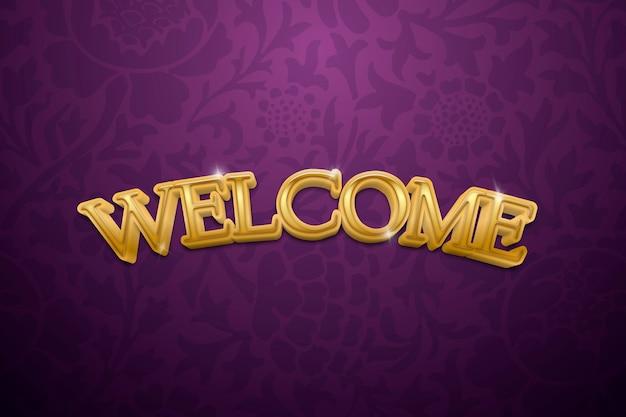 Texte de bienvenue en 3d dans une illustration de typographie fantaisie dorée