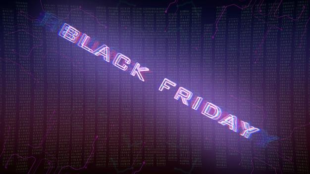 Texte black friday et fond cyberpunk avec matrice informatique et grille. illustration 3d moderne et futuriste pour le thème cyberpunk et cinématographique