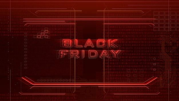 Texte black friday et fond cyberpunk avec matrice informatique, nombres et grille. illustration 3d moderne et futuriste pour le thème cyberpunk et cinématographique