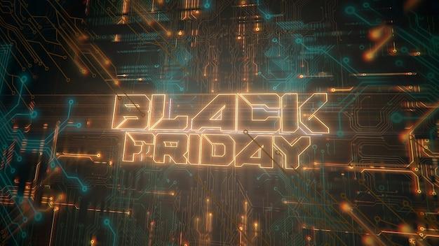 Texte black friday et fond cyberpunk avec puce informatique