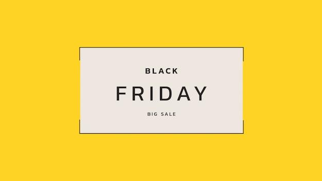 Texte black friday sur fond jaune mode et minimalisme avec cadre géométrique. illustration 3d élégante et luxueuse pour le modèle d'entreprise et d'entreprise