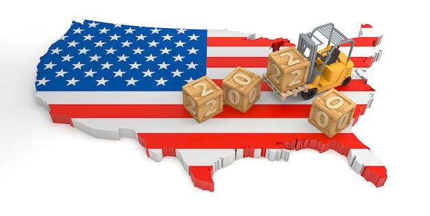 Texte de bloc en bois 2020 de la carte du drapeau des états-unis. rendu 3d