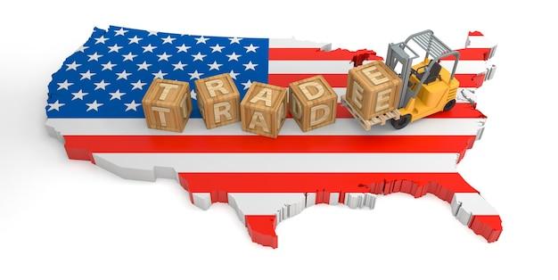Texte de bloc de bois du commerce des états-unis. rendu 3d