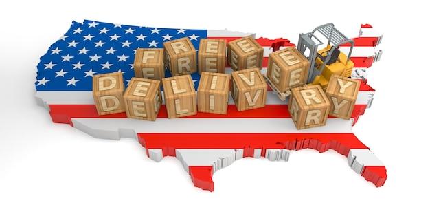 Texte de bloc en bois de livraison gratuite des états-unis. rendu 3d