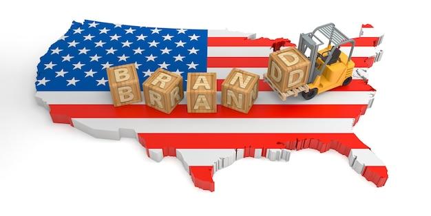 Texte de bloc en bois de marque de la carte du drapeau des états-unis. rendu 3d
