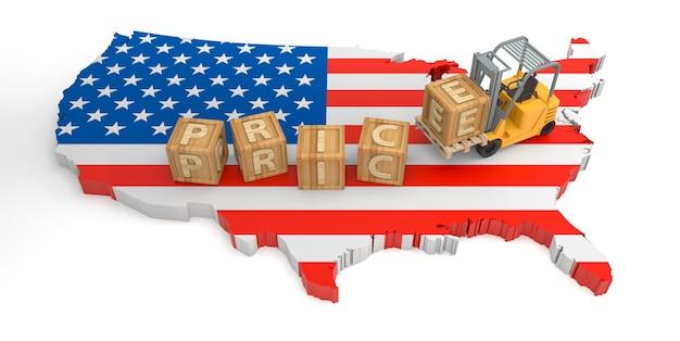 Texte de bloc de bois de prix des états-unis. rendu 3d