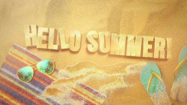 Texte bonjour été et plage de sable en gros plan avec sandale et lunettes, fond d'été. illustration 3d élégante et luxueuse de style rétro des années 80 pour le thème de la publicité et de la promotion
