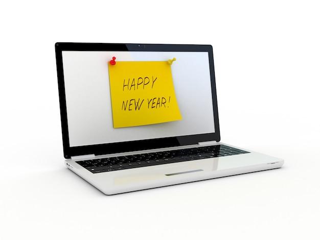 Texte de bonne année sur l'écran du portable