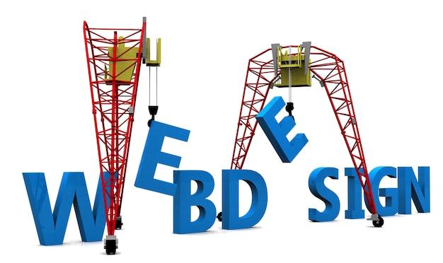 Texte de conception web de construction grue de chantier