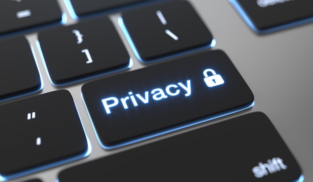 Texte de confidentialité sur le bouton du clavier