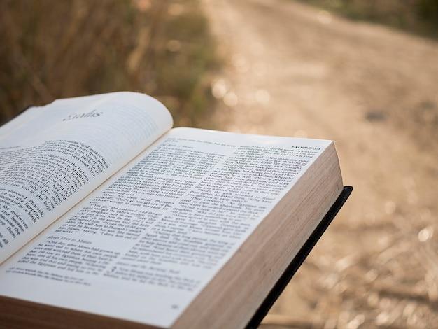 Texte dans le livre de la sainte bible.