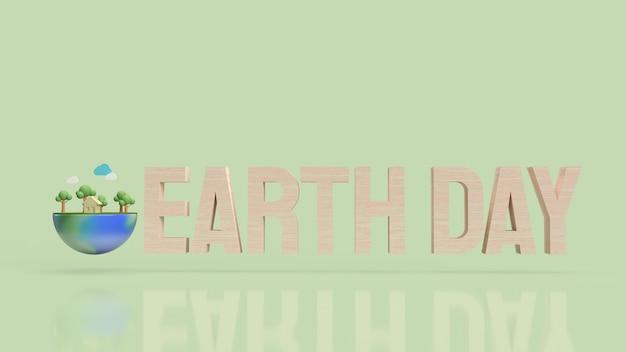 Texte du jour de la terre en bois sur une surface verte