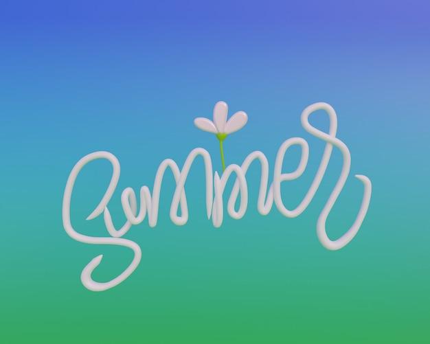 Texte d'été, libellé en rendu 3d