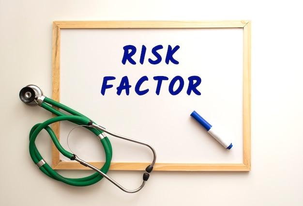 Le texte facteur de risque est écrit sur un tableau blanc avec un marqueur