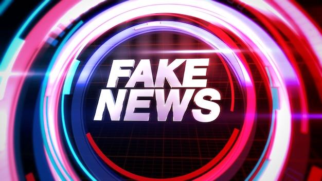 Texte fake news et graphique de nouvelles avec des formes circulaires en studio, fond abstrait. style d'illustration 3d élégant et luxueux pour le modèle de nouvelles