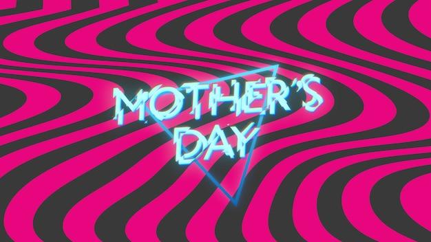 Texte de la fête des mères sur fond de mode et de club avec des triangles et des vagues lumineux. illustration 3d de style élégant et luxueux pour le modèle de club et de divertissement