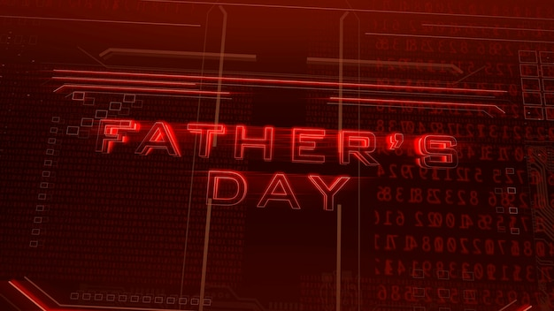 Texte fête des pères et fond d'animation cyberpunk avec matrice informatique, nombres et grille. illustration 3d dynamique moderne et futuriste pour le thème cyberpunk et cinématographique