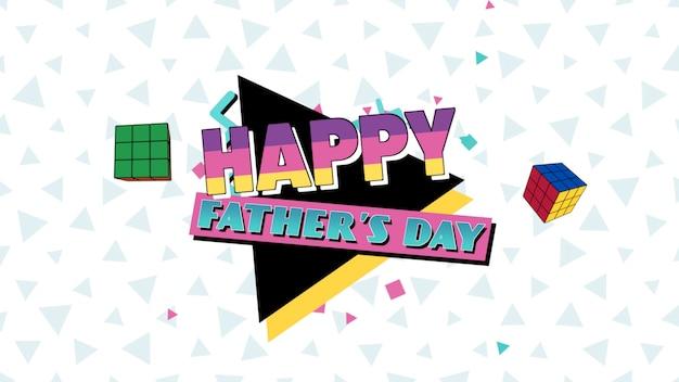 Texte de la fête des pères et des formes géométriques abstraites de mouvement, fond de memphis. style d'illustration 3d élégant et luxueux pour le modèle d'entreprise et d'entreprise