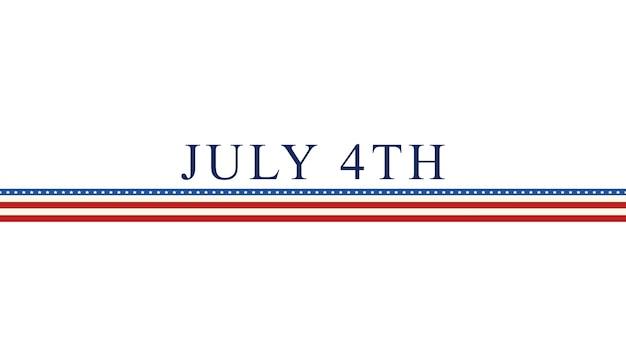 Texte en gros plan le 4 juillet sur fond de vacances, journée de la nation des états-unis. modèle de style d'illustration 3d de luxe et élégant pour carte de vœux