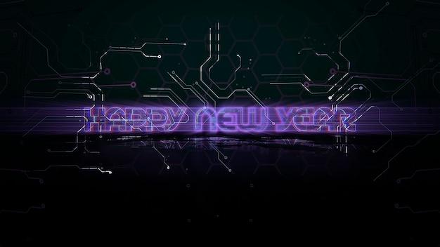 Texte happy new year et fond d'animation cyberpunk avec puce informatique et lignes au néon