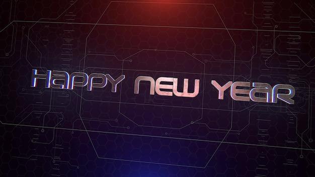 Texte happy new year et fond cyberpunk avec matrice informatique et grille. illustration 3d moderne et futuriste pour le thème cyberpunk et cinématographique