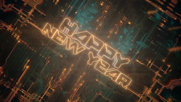 Texte happy new year et fond cyberpunk avec puce informatique et néons