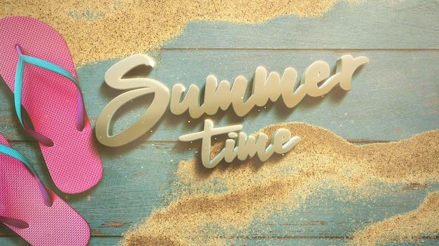 Texte heure d'été et plage de sable en gros plan avec sandale sur bois, fond d'été. illustration 3d élégante et luxueuse de style rétro des années 80 pour le thème de la publicité et de la promotion