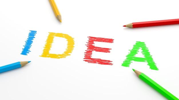 Texte d'idée avec des crayons colorés isolés