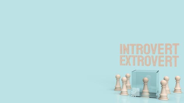 Le texte introverti et extraverti pour le rendu 3d d'arrière-plan.
