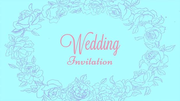 Texte d'invitation de mariage en gros plan et fleurs vintage, fond de mariage. style d'illustration 3d pastel élégant et luxueux pour mariage ou thème romantique