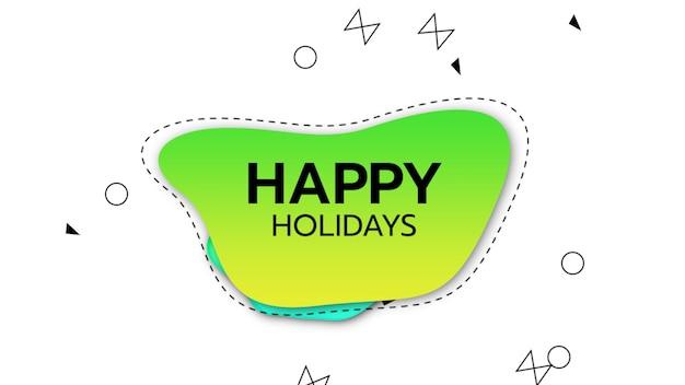 Texte joyeuses fêtes sur fond de mode et de formes géométriques dans le style memphis. style d'illustration 3d élégant et luxueux pour les vacances et le modèle d'entreprise