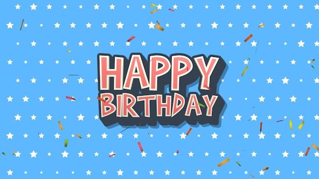 Texte de joyeux anniversaire agrandi avec des confettis sur fond bleu de vacances. modèle de style dynamique de luxe et élégant pour carte de vœux, illustration 3d