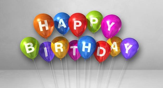 Texte de joyeux anniversaire sur des ballons colorés. rendu 3d